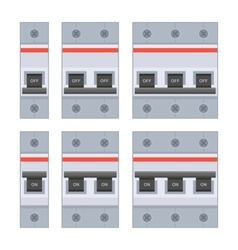 Circuit Breakers Set on White Background vector image vector image