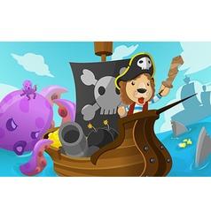 Lion Pirate Adventure Fantasy Cartoon vector image vector image
