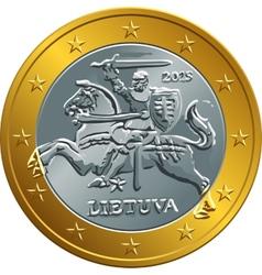 lithuanian euro gold money coin vector image vector image