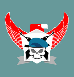 Military emblem skull in beret wings and weapons vector