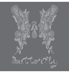 pattern Mehendi white butterfly vector image
