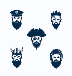 set of men face silhouettes bearded faces vector image vector image