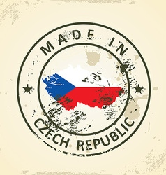 Stamp with map flag of Czech Republic vector image