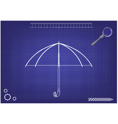 3d model of an umbrella on a blue vector image