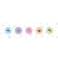 5 sink icons vector