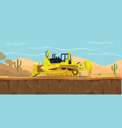 A bulldozer heavy equipment on desert with cactus vector