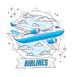 Airlines air travel emblem or with plane airliner vector