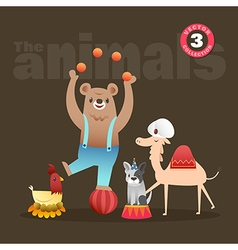 animals cartoon bear hen french bulldog camel vector image