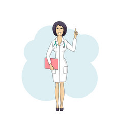 Asian doctor female talking in white coat vector