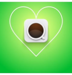 Background cup of coffee and heart vector image