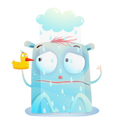 Bad rainy day of cute monster vector