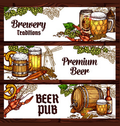 beer drinks and snack food sketch banner design vector image