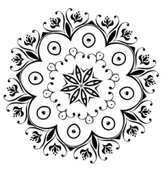 Black floral ornament round vector