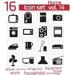 black home appliances icon set vector image