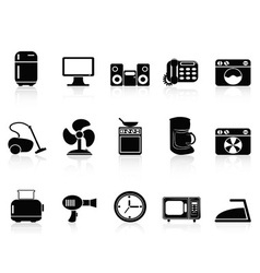 Black home devices icons set vector