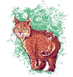 Bobcat on a green background vector