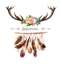 Bohemian wreath design with antler flower vector