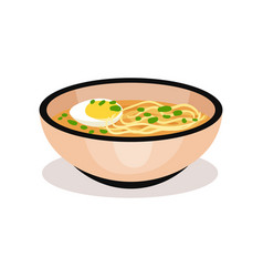 Bowl of ramen noodle with boiled egg traditional vector
