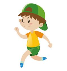 Boy in yellow shirt running vector