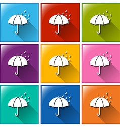 Buttons showing a rainy weather forecast vector