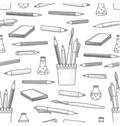 Cartoon doodles hand drawn school seamless vector