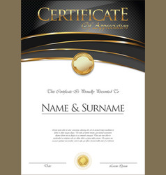 certificate or diploma retro template vector image vector image