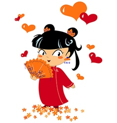 Chinese romantic little girl vector