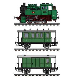 Classic green passenger steam train vector