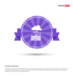 cloud connection icon - purple ribbon banner vector image