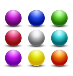 Colored glossy shiny 3D balls spheres set vector image