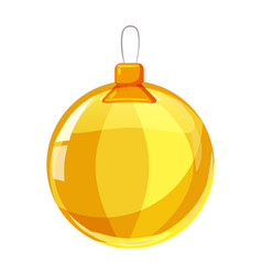 colour christmas yellow ball isolated on white vector image