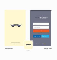 Company mustache splash screen and login page vector