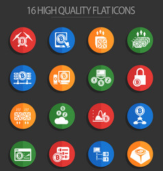 cryptocurrency and mining 16 flat icons vector image