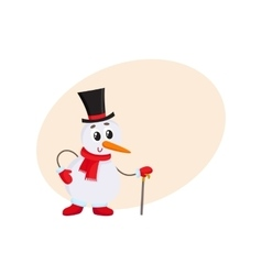 Cute and funny little snowman in cylinder hat vector