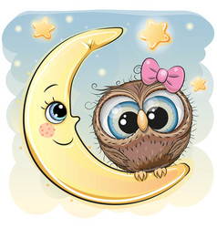 cute cartoon owl girl on the moon vector image