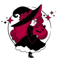 cute little witch holding halloween pumpkin vector image
