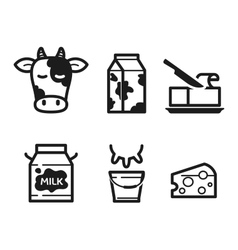 Dairy icons vector