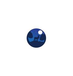 Deer or antelope in night with moon design vector