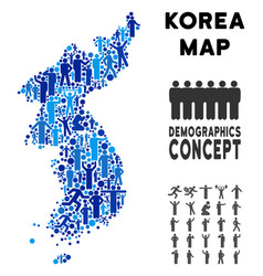 demographics north and south korea map vector image
