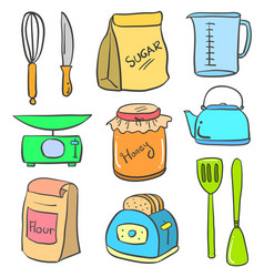 doodle of kitchen equipment set colorful vector image
