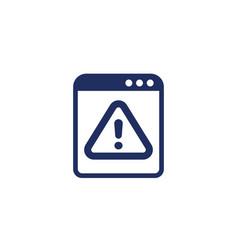 Error warning window icon on white vector
