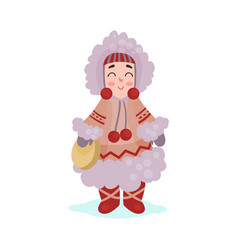 Eskimos woman character dressed in national vector