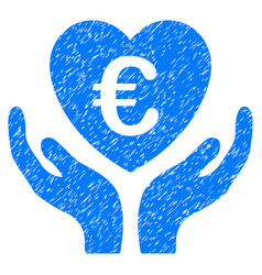 Euro care hands grunge icon vector
