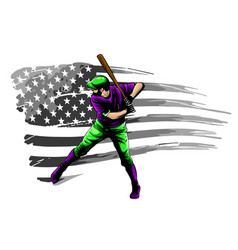 fast pitch baseball boy cartoon player with bat vector image