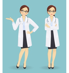 Female doctor in different poses vector