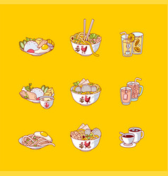 Flat design indonesian food and drink icon vector