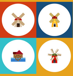 Flat icon alternative set of watermill power vector