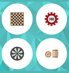 flat icon games set of lottery poker chess table vector image