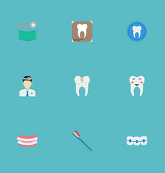 Flat icons hygiene dentition radiology and other vector