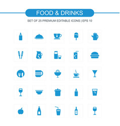 Food and drinks blue icons vector